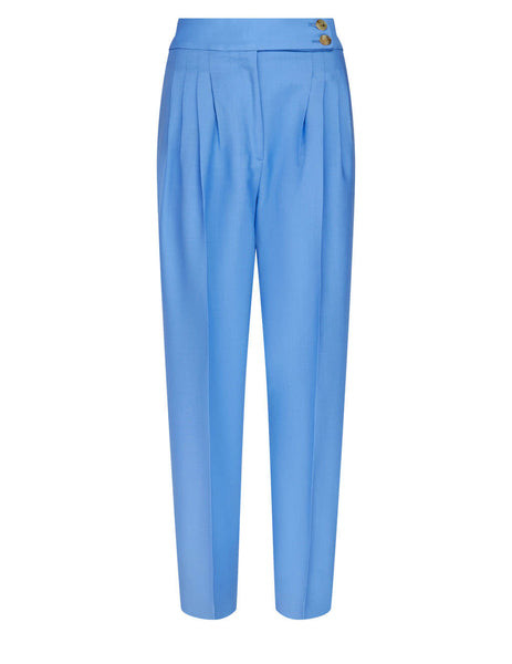 Women's Burberry Relaxed Pleated Trousers in Vivid Cobalt -  4567668 A9116