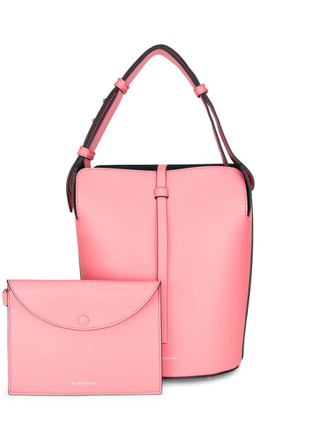 Burberry Women's Coral Pink Small Leather Bucket Bag 407587267120