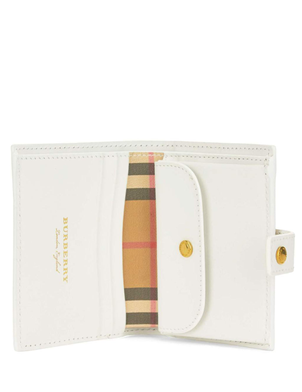 Burberry Women's Giulio Fashion Chalk White & Yellow Small Vintage Check and Leather Folding Purse 407343211400