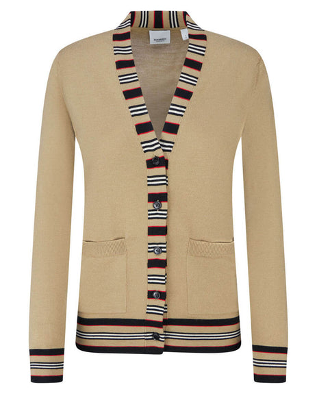 Burberry Women's Camel Stripe Trim Cardigan 8010606 A1420