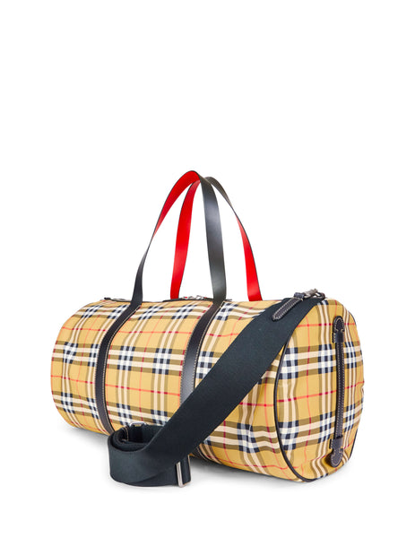 Burberry Vintage Check And Leather Barrel Bag Antique Yellow 8005523A5373 Men's Giulio Fashion