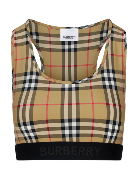 womens burberry vintage check crop top in antique yellow 8012451A5145
