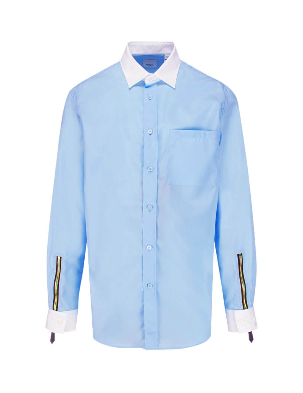 Burberry Men's Giulio Fashion Pale Blue Zip Detail Shirt 4558024A1397