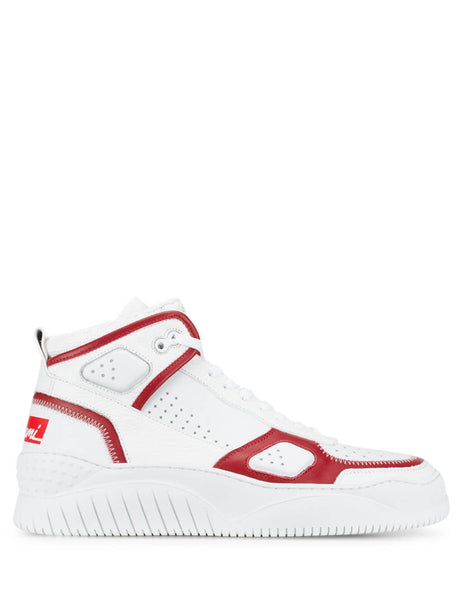 BUSCEMI Men's White Mid-Top Basket Sneakers 120SM023FF01AF0140