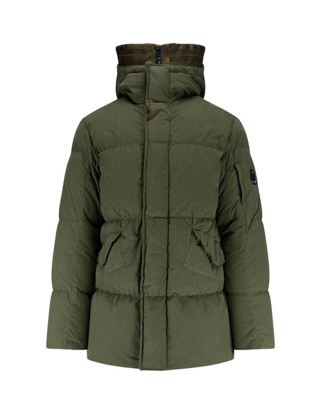 C.P Company 50 Fili Long Down Jacket in Olive Green 07CMOW204B005503G670