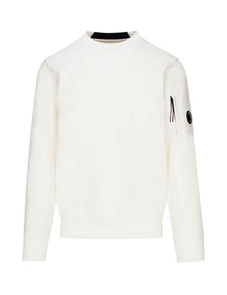 C.P. Company White Diagonal Fleece Lens Sweatshirt SS014A005160W103