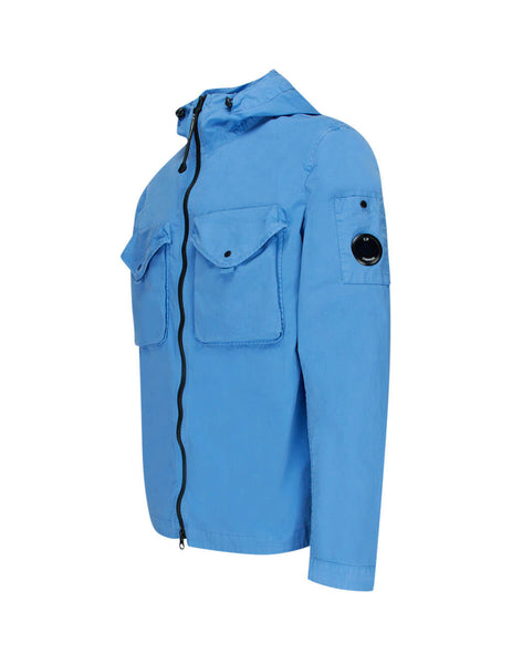 C.P. Company Light Blue Gabardine Hooded Overshirt OS121A005425G818