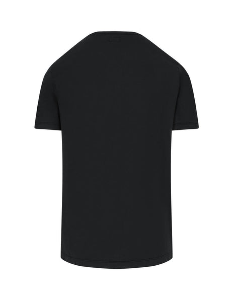 C.P. Company Men's Black Logo Print Mako Cotton T-Shirt TS051A000444G999