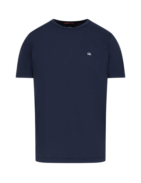 C.P. Company Men's Giulio Fashion Navy Logo Print Mako Cotton T-Shirt TS051A000444G888