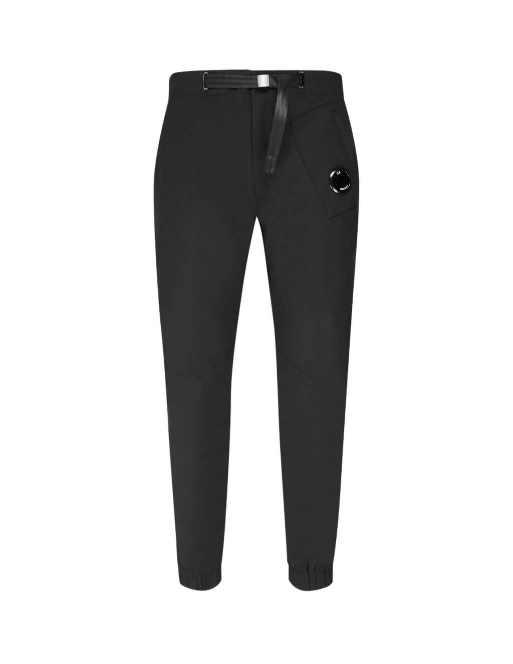 C.P. Company Men's Giulio Fashion Black Built-In Belt Trousers 07CMPA039A004117A999