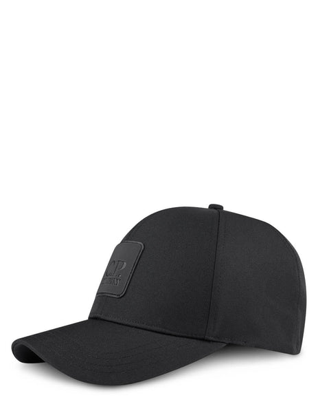 Men's C.P. Company Metropolis Series Logo Badge Cap in Black - 10CMAC093A005952A999