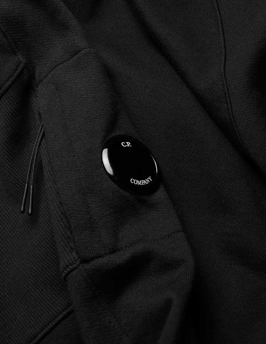 mens cp company panel insert hoodie black MSS033A005086W999