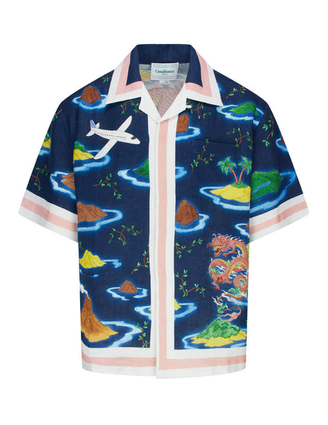 Casablanca Men's Giulio Fashion Blue Casa Airways Shirt MS20SH003