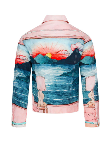 Casablanca Men's Giulio Fashion Light Pink Chambre Denim Jacket MS20JK003PINK