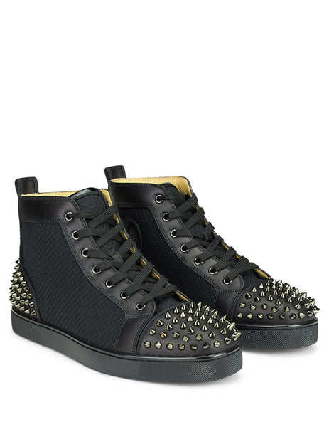 Christian Louboutin Men's Black AC Lou Spikes 2 Sneakers 3190134b142