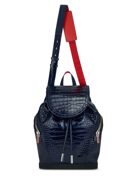 Men's Christian Louboutin Alligator Print Explorafunk S backpack in Nocture/Navy - 1215011U695