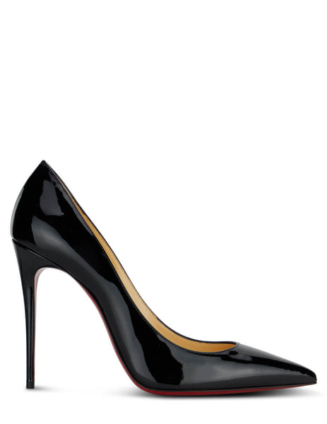 Women's Christian Louboutin Kate 100 Patent Leather Pumps in Black - 3191411BK01