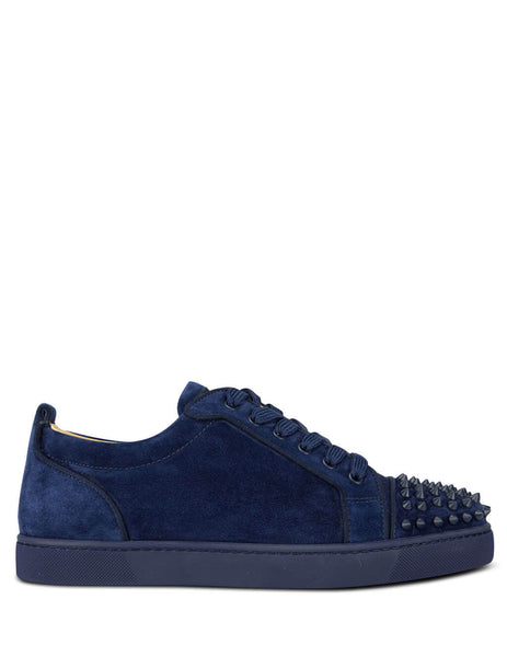 Men's Dark Blue Christian Louboutin Louis Junior Spikes Orlato Sneakers 3160934U638