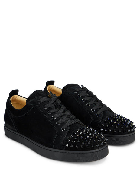Men's Black Christian Louboutin Louis Junior Spikes Veau Velours Sneakers 1130575CM53