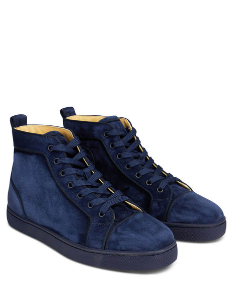Men's Dark Blue Christian Louboutin Louis Orlato High Top Sneakers 3161213U203