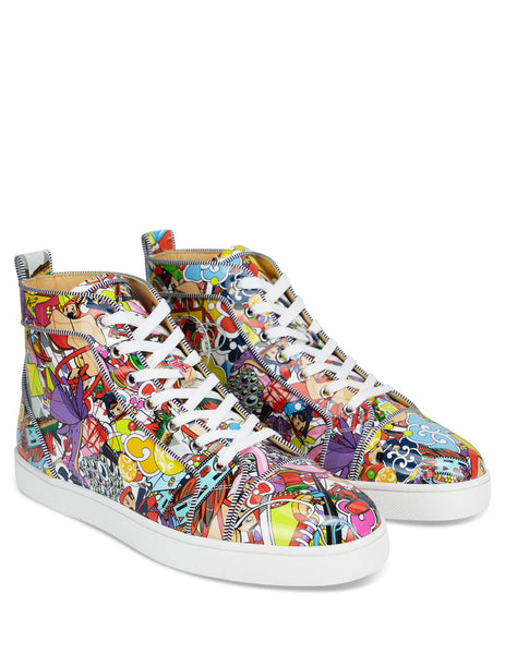 Men's Multicolour Christian Louboutin Louis Orlato High Top Sneakers with Super Loubi print 3200264M024
