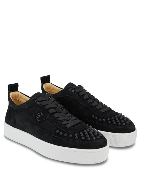 Christian Louboutin Men's Black Suede Happyrui Spikes Sneakers 1200520b026