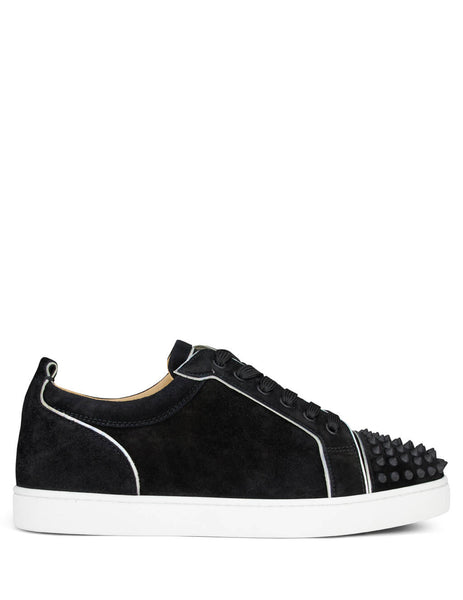 Christian Louboutin Men's Black and White Suede Louis Junior Spikes Orlato Sneakers 1200922b026