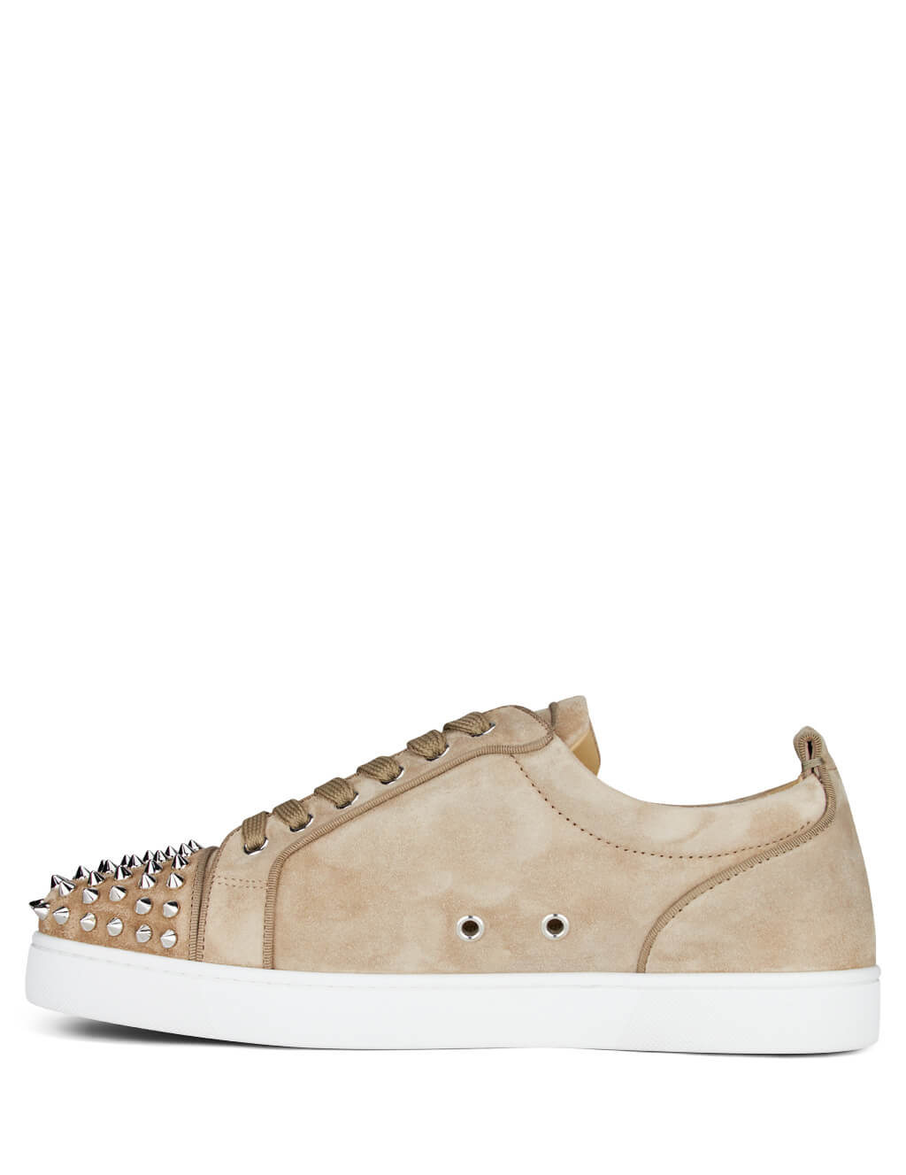 Christian Louboutin Men's Almond and White Louis Junior Spikes Orlato Suede Sneakers 3160934f283