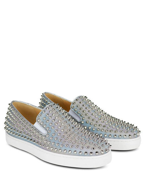 Christian Louboutin Men's Giulio Fashion Silver Roller Boat Flat Shoes 1201044M251