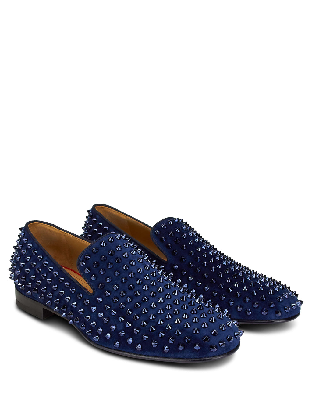 Christian Louboutin Men's Giulio Fashion Navy Rollerboy Spikes Flat Loafers 1120153V088