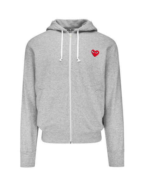 Men's Grey COMME des GARÇONS PLAY Heart Patch Zipped Hoodie P1T2501