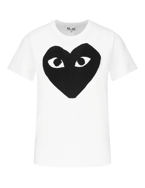COMME des GARÇONS PLAY Women's Giulio Fashion White Black Heart T-Shirt P1T0691