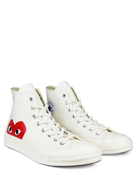 COMME des GARCONS PLAY x Converse Chuck Taylor All Star '70 High Sneakers in White/White - P1K112-2