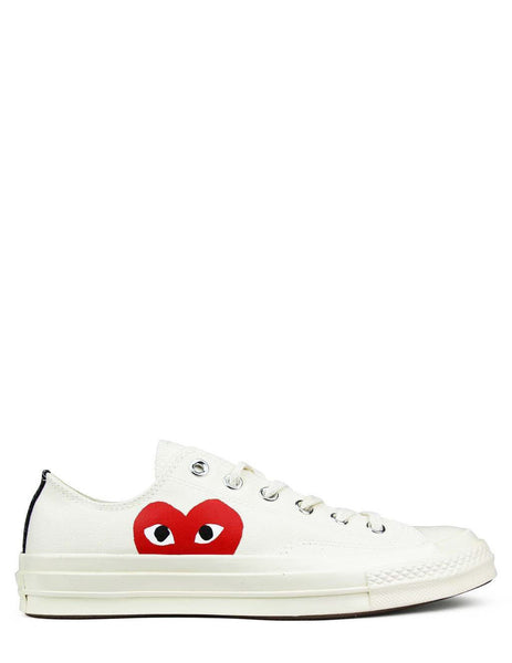 COMME des GARCONS PLAY x Converse Chuck Taylor All Star '70 Low Sneakers in White/White - P1K111-2