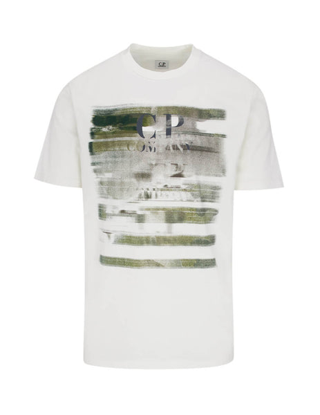 C.P. Company Men's Giulio Fashion White Blurred Print T-Shirt TS336A005621W103