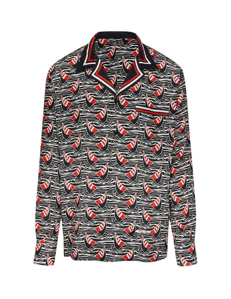 Dolce&Gabbana Men's Black, White and Red Silk Sail Boat Shirt G5GY9TFI1MEHN27D