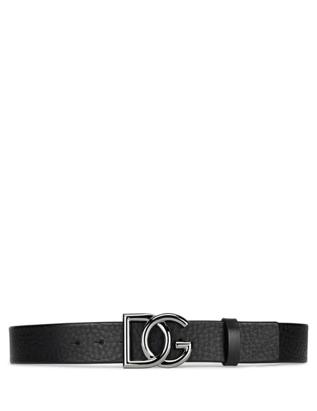 Dolce&Gabbana Men's Black Crossed DG Logo Leather Belt bc4401av48080999
