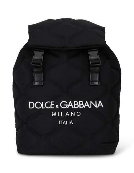 Mens Dolce&Gabbana Nylon Palermo Tecnico Backpack in Black and White BM1756AW14089690