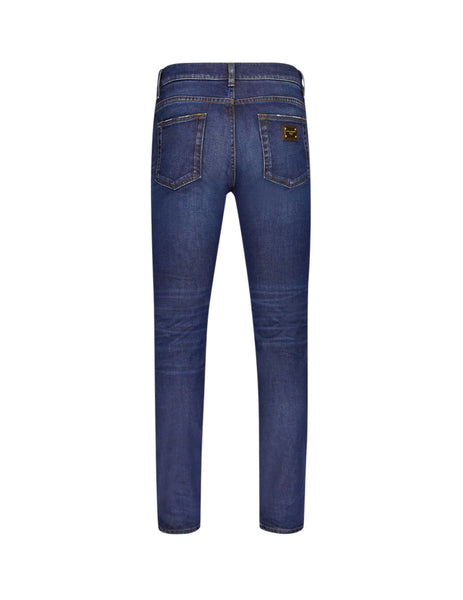Dolce&Gabbana Blue Wash Slim-Fit Stretch Jeans gy07ldg8bf6s9001