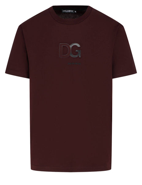 Men's Dolce&Gabbana 3D DG Logo Cotton T-Shirt in Burgundy - G8MO2ZFU7EQM5039