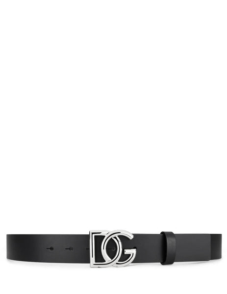 Dolce&Gabbana Men's Black Crossed Logo Belt in BlackBC4400AV47980999