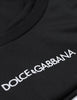 Dolce&Gabbana Men's Black Embroidered Logo T-Shirt in Cotton G8KBAZFU7EQN0000