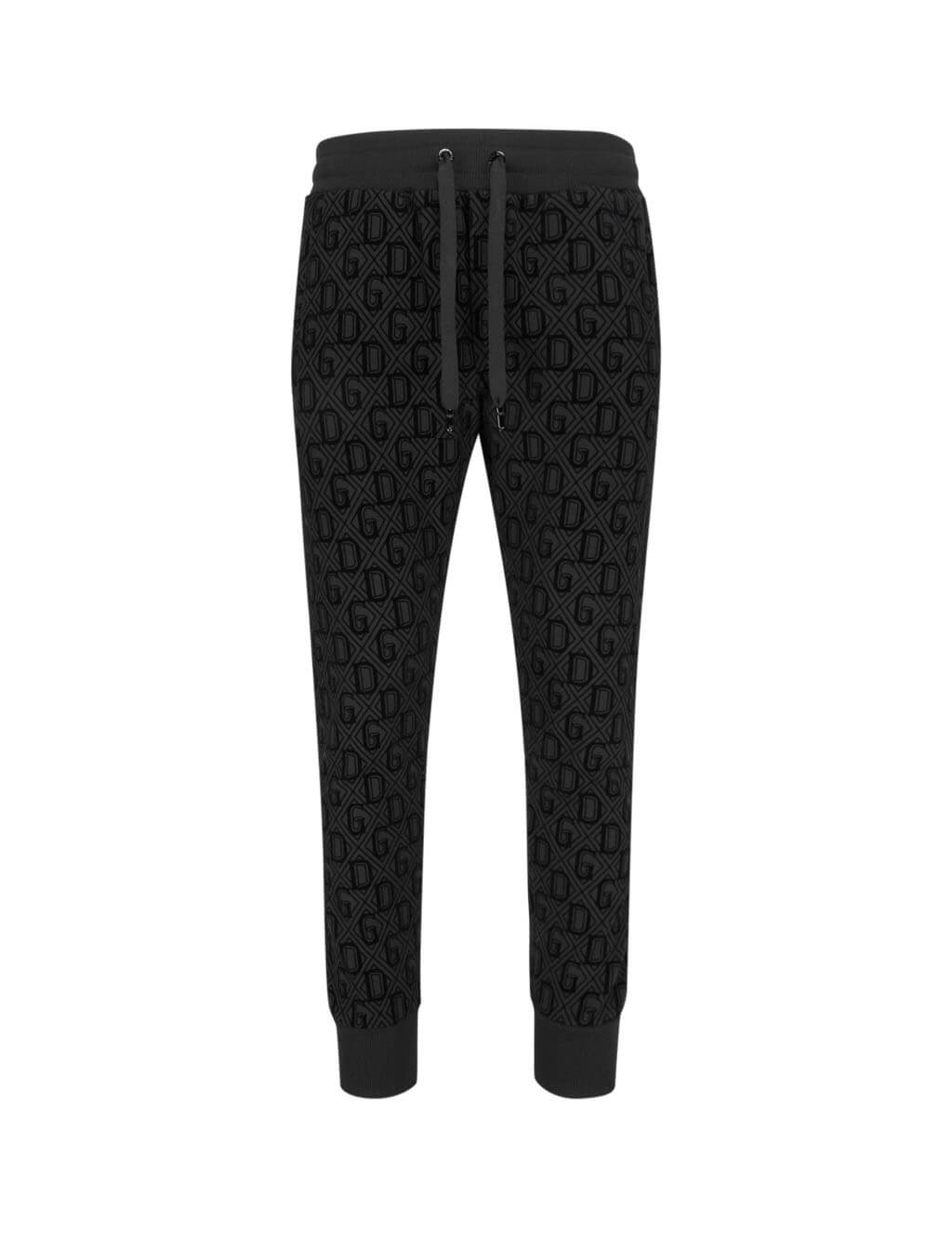Men's Black Dolce&Gabbana Flocked Print Jogging Pants GYROATG7VDBHN67N