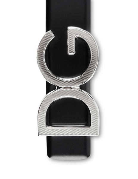 Dolce&Gabbana Men's Giulio Fashion Black DG Logo Belt BC4312A16078B577