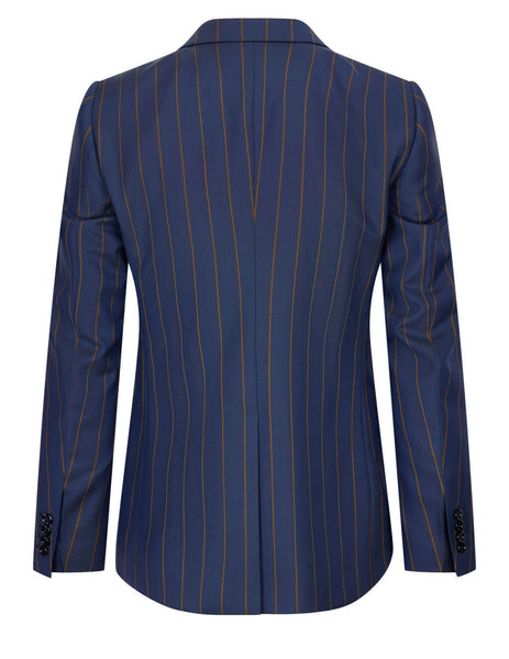 Pinstripe One Button Suit Jacket