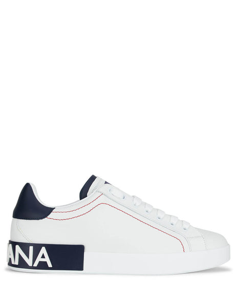 Dolce&Gabbana Men's White Portofino Sneakers in White/Blueberry CS1760AH5268I671