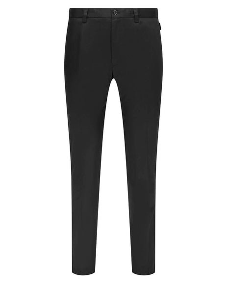 Men's Dolce&Gabbana Stretch Cotton Trousers in Black - GY6IETFUFJRN0000
