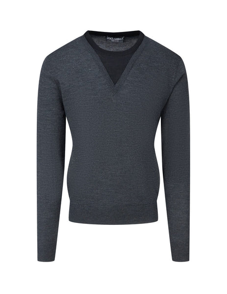 Dolce&Gabbana Men's Grey V-Neck Jumper GXB11TJAVWFS9002