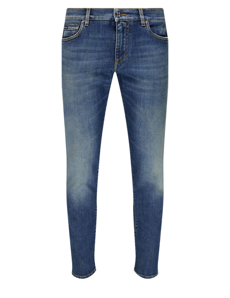 Men's Dolce&Gabbana Washed Slim Fit Jeans in Blue - GY07CDG8CR7S9001