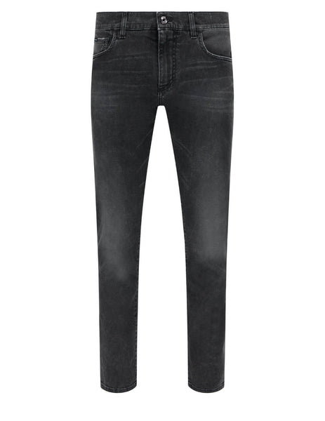 Men's Dolce&Gabbana Washed Slim Jeans in Washed Black - GY07CDG8CO7S9001